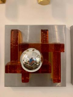 Poliarte Pair of Poliarte Italian Murano Glass 1960s Wall Lights - 1626035