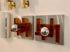 Poliarte Pair of Poliarte Italian Murano Glass 1960s Wall Lights - 1626036