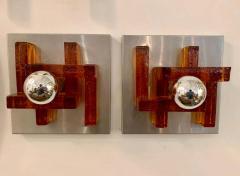Poliarte Pair of Poliarte Italian Murano Glass 1960s Wall Lights - 1626046