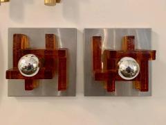 Poliarte Pair of Poliarte Italian Murano Glass 1960s Wall Lights - 1626050