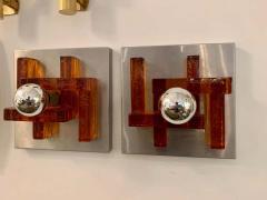 Poliarte Pair of Poliarte Italian Murano Glass 1960s Wall Lights - 1626051