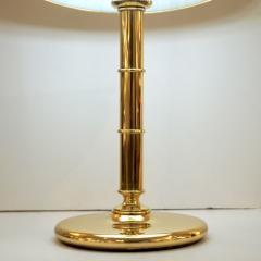 Poliarte Poliarte 1960s Italian Feather Reed Grass Decor Cream White Glass Brass Lamp - 2067772