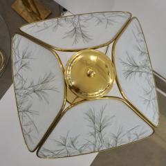 Poliarte Poliarte 1960s Italian Feather Reed Grass Decor Cream White Glass Brass Lamp - 2067773