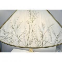 Poliarte Poliarte 1960s Italian Feather Reed Grass Decor Cream White Glass Brass Lamp - 2067774