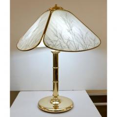 Poliarte Poliarte 1960s Italian Feather Reed Grass Decor Cream White Glass Brass Lamp - 2067775