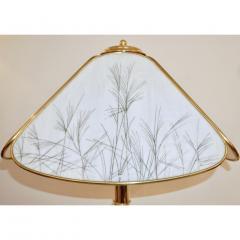 Poliarte Poliarte 1960s Italian Feather Reed Grass Decor Cream White Glass Brass Lamp - 2067776