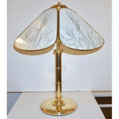 Poliarte Poliarte 1960s Italian Feather Reed Grass Decor Cream White Glass Brass Lamp - 2067777
