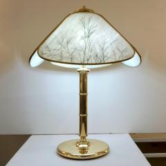 Poliarte Poliarte 1960s Italian Feather Reed Grass Decor Cream White Glass Brass Lamp - 2067779