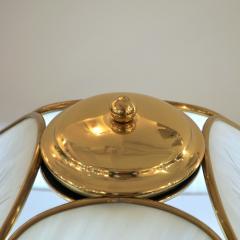 Poliarte Poliarte 1960s Italian Feather Reed Grass Decor Cream White Glass Brass Lamp - 2067780