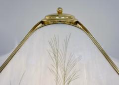 Poliarte Poliarte 1960s Italian Feather Reed Grass Decor Cream White Glass Brass Lamp - 2067781