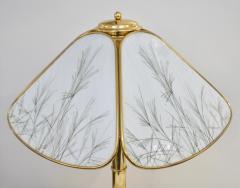 Poliarte Poliarte 1960s Italian Feather Reed Grass Decor Cream White Glass Brass Lamp - 2067782