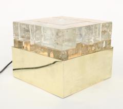 Poliarte Poliarte Italian Cast Clear Glass and Brass Table Lamp Designed by Albano Poli - 1344503