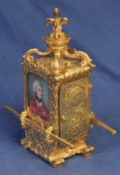 R Co Paris c 1895 French Sedan Carriage Clock with Miniature Portraits - 1146993