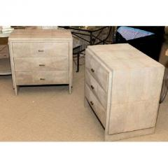 R Y Augousti Pair of Natural Shagreen 3 Drawer Nightstands - 480439