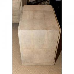 R Y Augousti Pair of Natural Shagreen 3 Drawer Nightstands - 480440