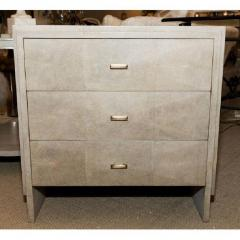 R Y Augousti Pair of Natural Shagreen 3 Drawer Nightstands - 480441