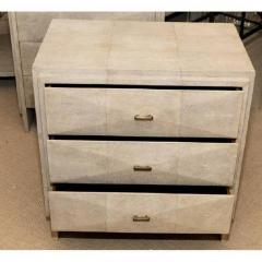R Y Augousti Pair of Natural Shagreen 3 Drawer Nightstands - 480443