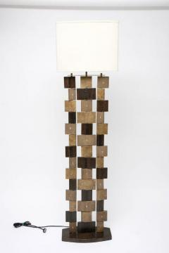 R Y Augousti R Y Augousti Floor Lamp Shagreen Alligator Lizard and Mahogany Wood - 586620
