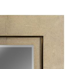 R Y Augousti Taupe Shagreen Double Stepped Framed Mirror By R Y Augousti - 1300584