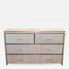 R Y Augousti WHITE SHAGREEN FOUR DRAWER COMMODE WITH BRONZE TRIM - 988168
