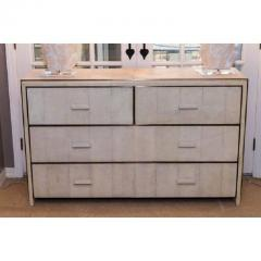 R Y Augousti White Shagreen Four Drawer Commode with Bronze Trim - 480283