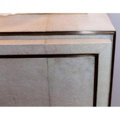 R Y Augousti White Shagreen Four Drawer Commode with Bronze Trim - 480287