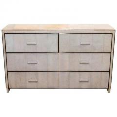 R Y Augousti White Shagreen Four Drawer Commode with Bronze Trim - 480288