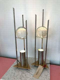 RW Manufaktur Pair of Lamps Glass Ball Sculpture by RW Manufaktur Germany 1980s - 622509