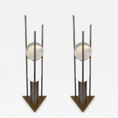 RW Manufaktur Pair of Lamps Glass Ball Sculpture by RW Manufaktur Germany 1980s - 623754