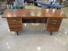 Raphael Furniture A French Modern Figured Palisander Brass and Leather Trimmed Executive Desk - 566512