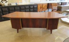 Raphael Furniture A French Modern Figured Palisander Brass and Leather Trimmed Executive Desk - 566572