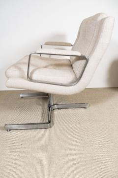 Raphael Furniture France Pair of Raphael chairs with metal base upholstered in Belgian linen - 1467327