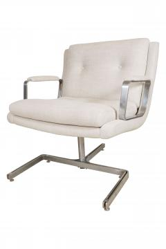Raphael Furniture France Pair of Raphael chairs with metal base upholstered in Belgian linen - 1467328