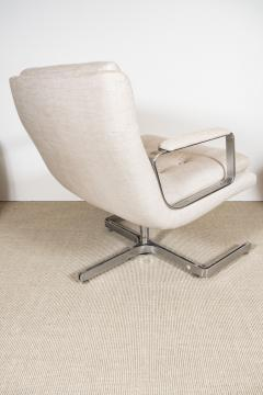Raphael Furniture France Pair of Raphael chairs with metal base upholstered in Belgian linen - 1467330