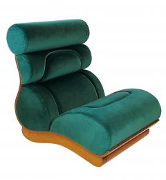 Raphael Furniture France Set of 5 French Modern Walnut Turquoise Velvet Upholstered Chairs - 1072461