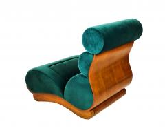 Raphael Furniture France Set of 5 French Modern Walnut Turquoise Velvet Upholstered Chairs - 1072462