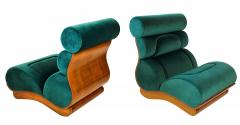 Raphael Furniture France Set of 5 French Modern Walnut Turquoise Velvet Upholstered Chairs - 1072463