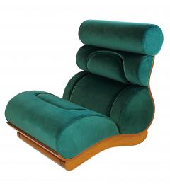 Raphael Furniture France Set of 5 French Modern Walnut Turquoise Velvet Upholstered Chairs - 1075770