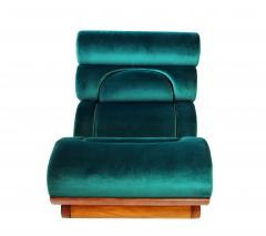 Raphael Furniture France Set of 5 French Modern Walnut Turquoise Velvet Upholstered Chairs - 1075772