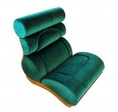 Raphael Furniture France Set of 5 French Modern Walnut Turquoise Velvet Upholstered Chairs - 1075773