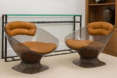 Raphael Furniture Pair of Lucite and Leather Lounge Chairs - 392591
