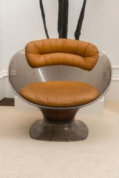Raphael Furniture Pair of Lucite and Leather Lounge Chairs - 392592