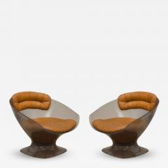 Raphael Furniture Pair of Lucite and Leather Lounge Chairs - 397182