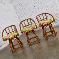 Rattan Specialties Inc Three mcm rattan swivel counter height bar stools by rattan specialties inc  - 1843722