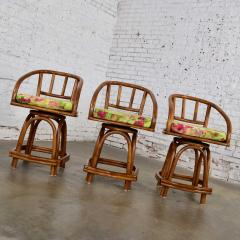 Rattan Specialties Inc Three mcm rattan swivel counter height bar stools by rattan specialties inc  - 1843726