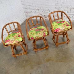 Rattan Specialties Inc Three mcm rattan swivel counter height bar stools by rattan specialties inc  - 1843728