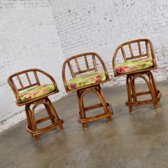 Rattan Specialties Inc Three mcm rattan swivel counter height bar stools by rattan specialties inc  - 1843737