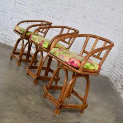 Rattan Specialties Inc Three mcm rattan swivel counter height bar stools by rattan specialties inc  - 1843748