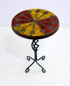 Raymor Italian Modern Wrought Iron and Ceramic Side Table by Raymor - 315831