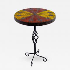 Raymor Italian Modern Wrought Iron and Ceramic Side Table by Raymor - 316174